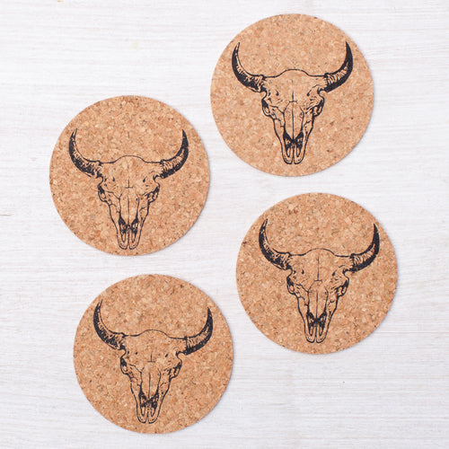 Buffalo Skull Coasters - Set Of Four