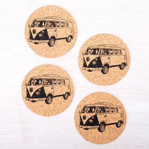 Vintage Bus Coasters - Set Of Four