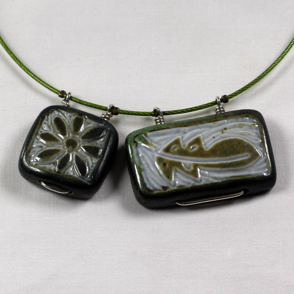 Green Flower & Leaf Double Necklace
