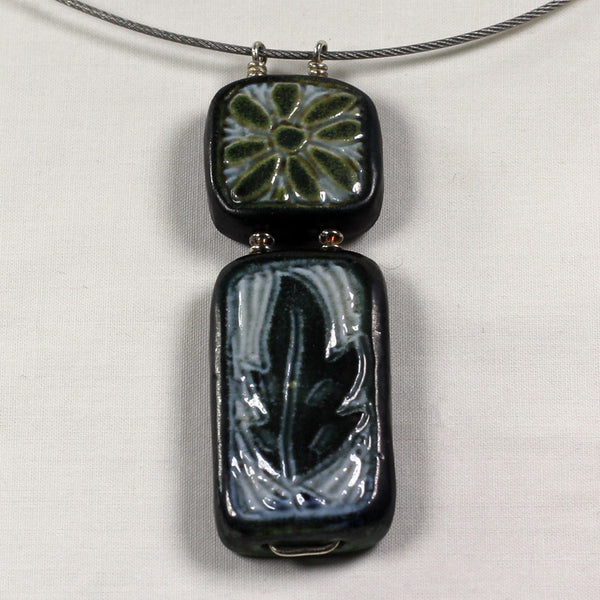 Double Vertical Flower & Leaf Necklace