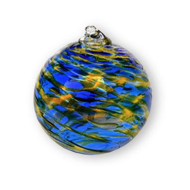 Hand Blown Ornament - Blue & Gold