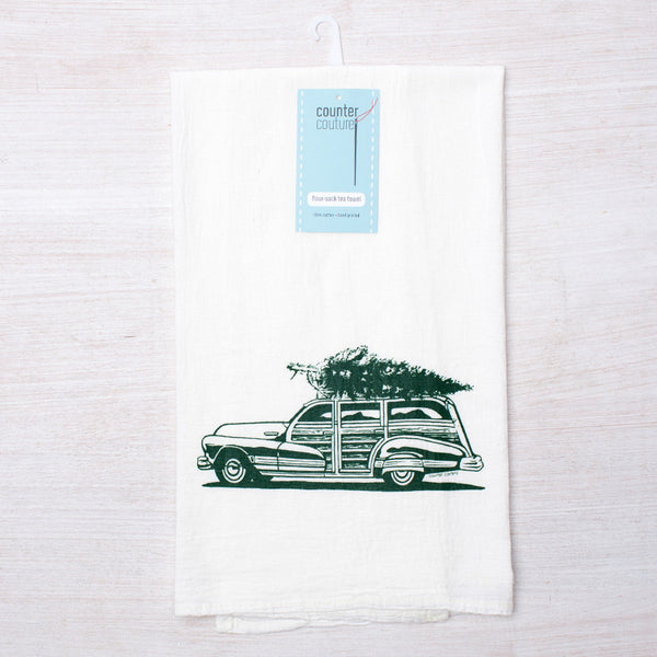 Holiday Woody Wagon Flour Sack Tea Towel