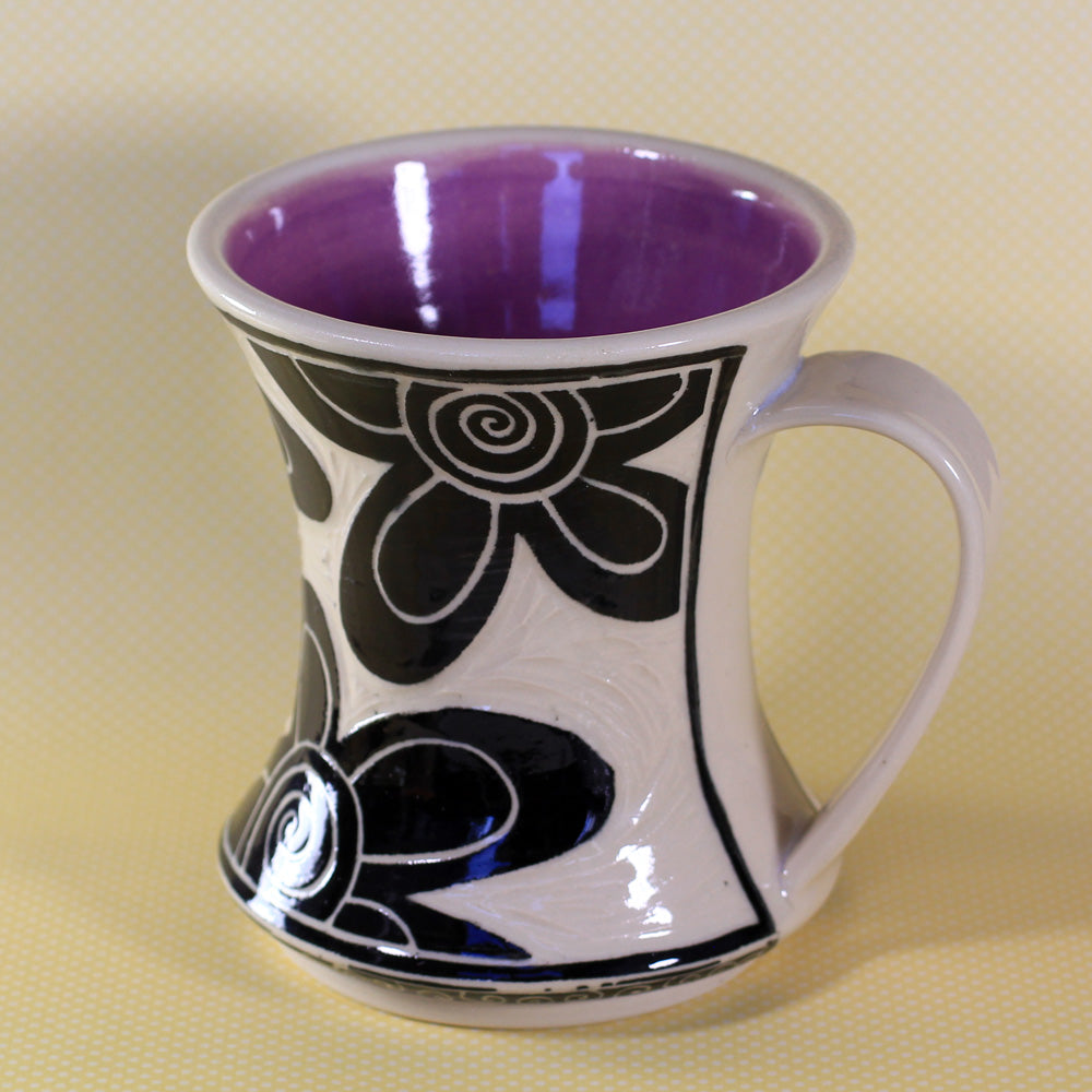 Hourglass Mug Flower (Purple)