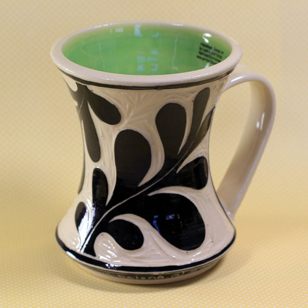 Hourglass Mug Leaf Pattern (Green)