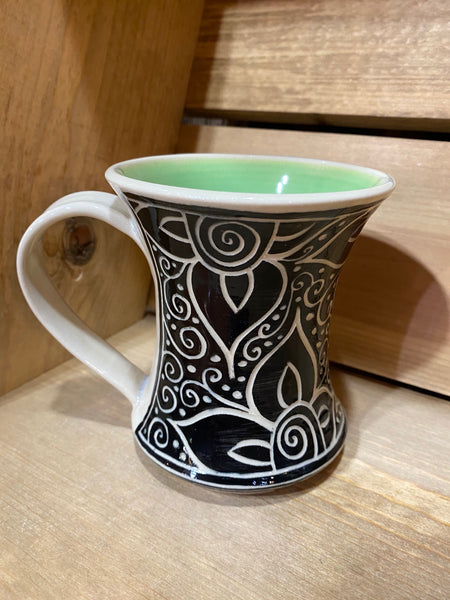 Hourglass Mug Vine & Flower (Green)