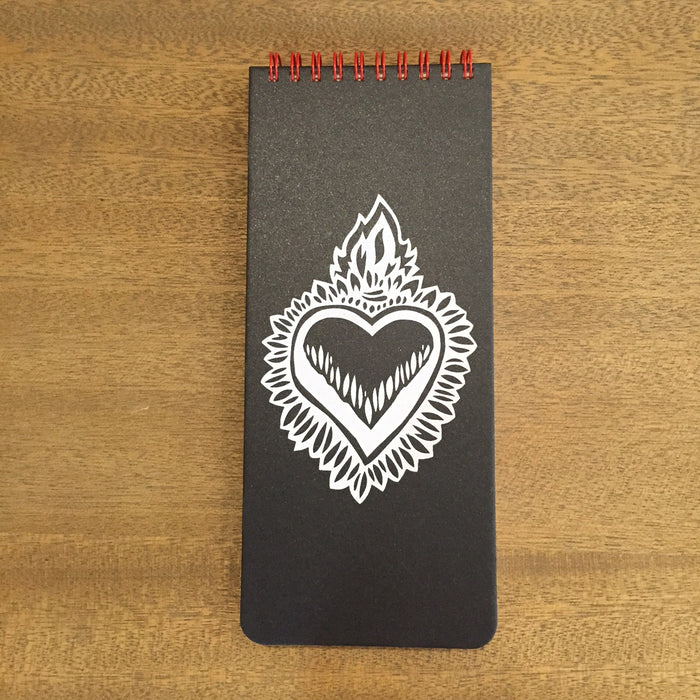 Flaming Heart Notebook in Charcoal