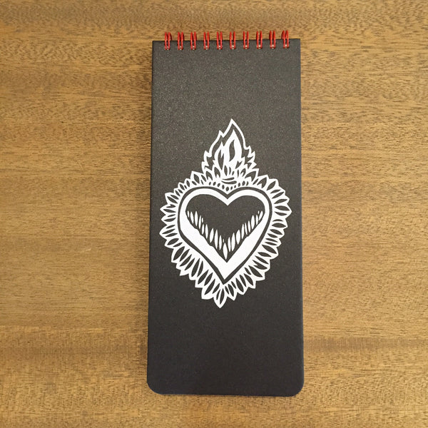 Flaming Heart Wish List Book (Charcoal)
