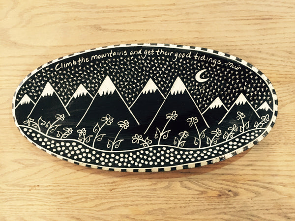 Oval Serving Platter Mountain Pattern (Climb the mountains...)