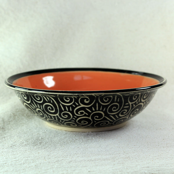 Medium Bowl Spiral Pattern (Orange)
