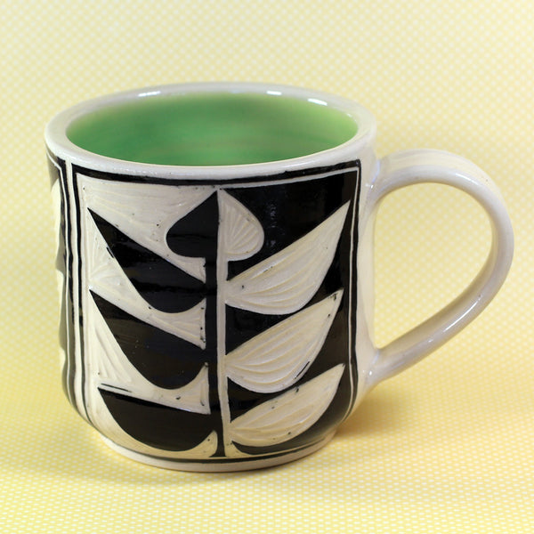 Coffee Mug Vine Pattern (Green)