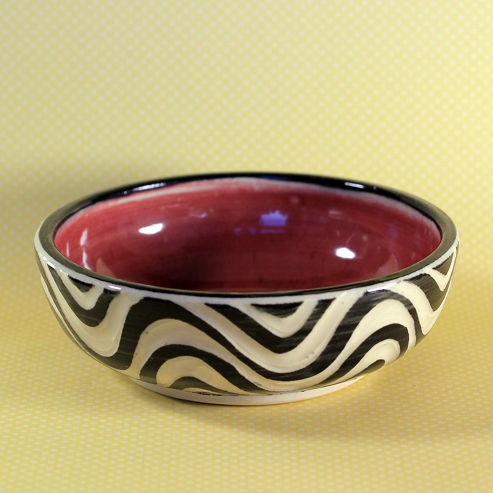 Small Bowl Wave Pattern (Red)