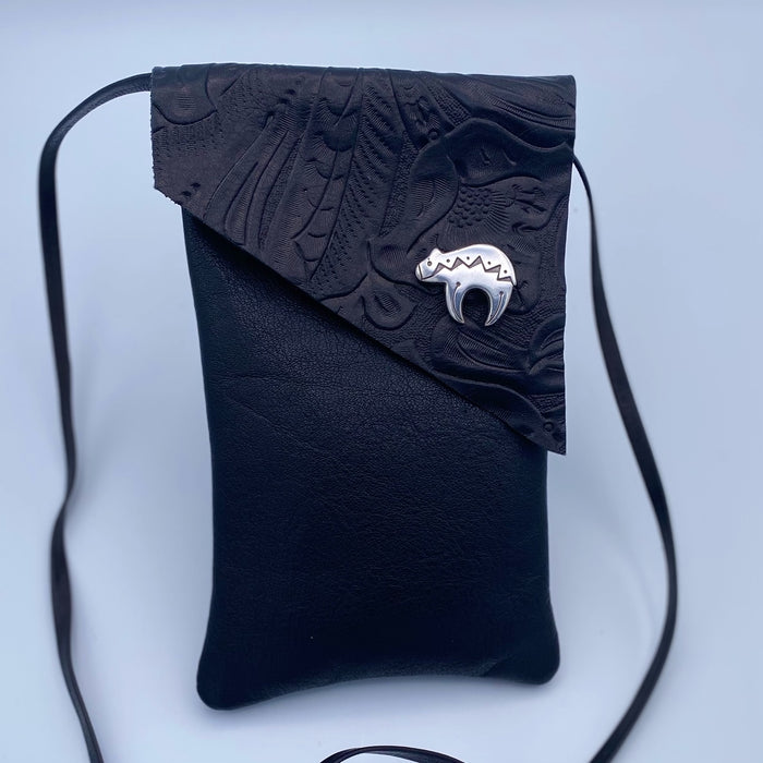 Small Cross Body Bag in Black with Bear Button