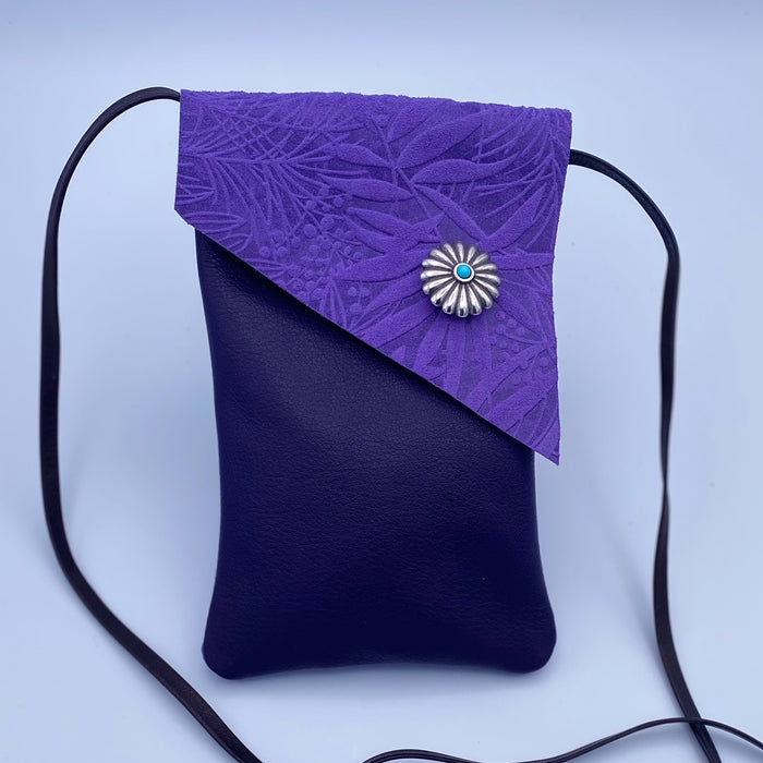 Small Cross Body Bag in Purple and Dark Purple with Flower Button