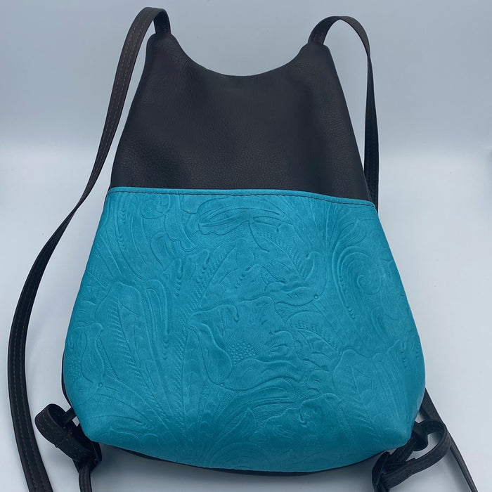 City Slicker Backpack in Black and Turquoise Cowhide