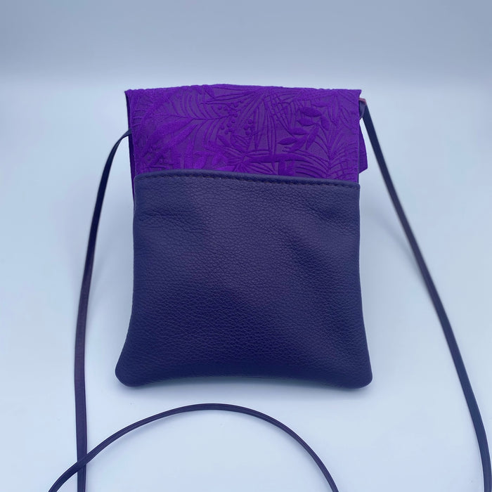 Tag Along 2 Bag in Dark Purple and Purple with Flower Button
