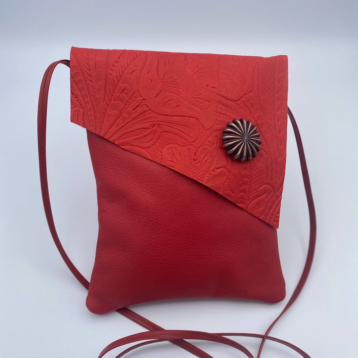 Tag Along 2 Bag in Red with Flower Button