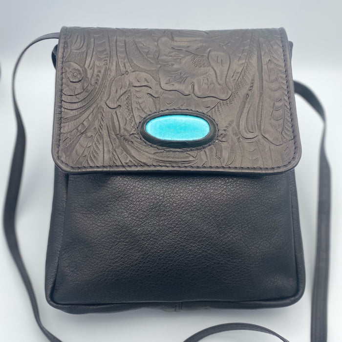 Walkabout Bag in Black with Turquoise Stone Inlay