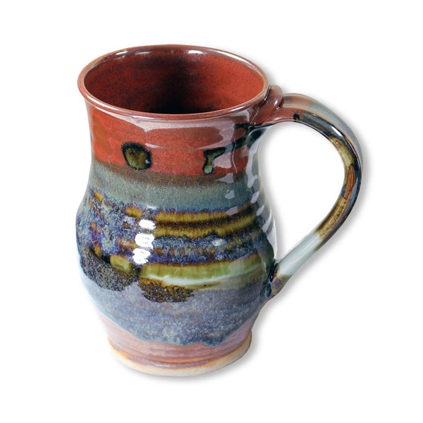 Tall Mug in Red & Brown