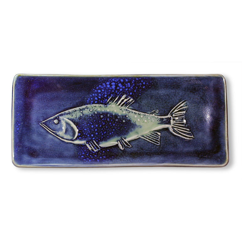 Rectangular Imprinted Fish Tray in Blue