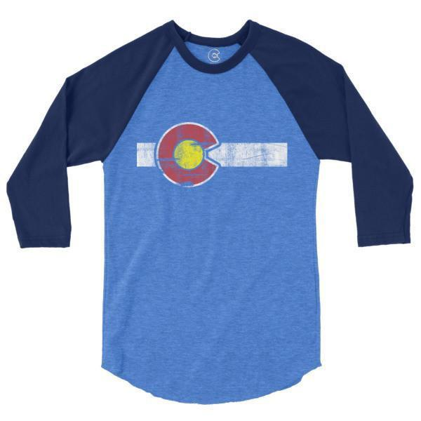 Classic Colorado Flag 3/4 Sleeve Raglan T-Shirt