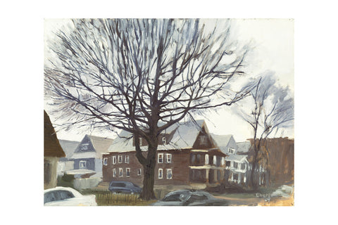 "'Beverly Rd and East 5th Street, Winter', 18"" x 24"" Limited edition giclee print Hahnemuhle Museum Rag 340 gsm paper"