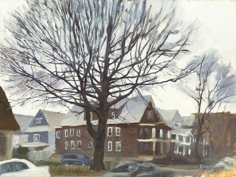"'Beverly Rd and East 5th Street, Winter', 42"" x 56"" Limited edition giclee print on stretched canvas."