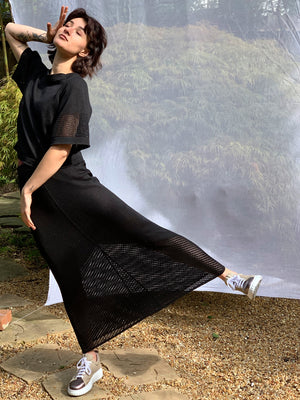 Linen Silk Pointelle Skirt