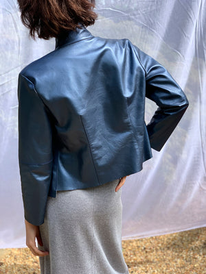 Pearlized Blue Leather Jacket