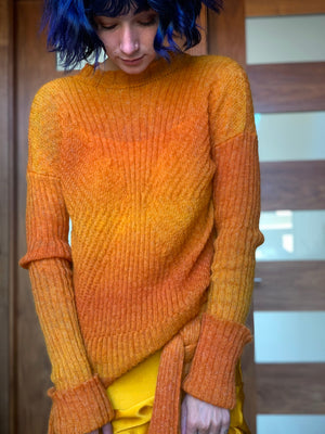 Sunset orange bias rib knit sweater made in California