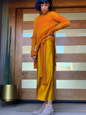 Sunset orange bias rib knit sweater with long silk slip made in California