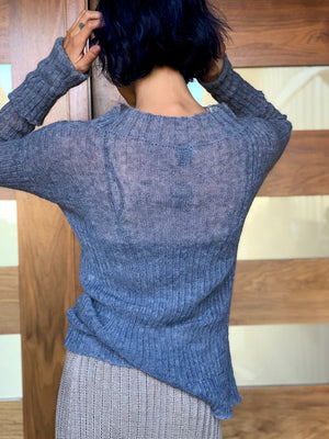 Sheer Ribbed Sweater Denim