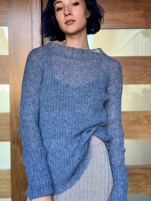 Sheer denim ribbed knit sweater knit in California