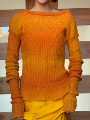 Semi Sheer Rib Sweater Sunset