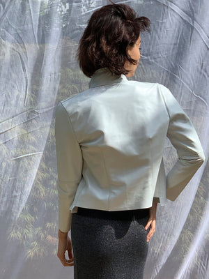 Pearlized White Leather Jacket