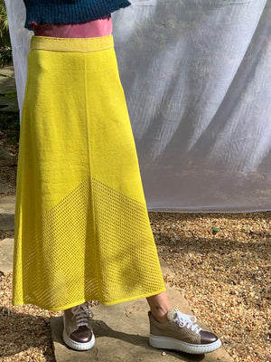 Linen Silk Pointelle Skirt Yellow