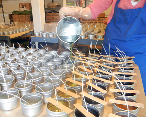 pouring colored and fragranced soy beeswax blend into candle tins