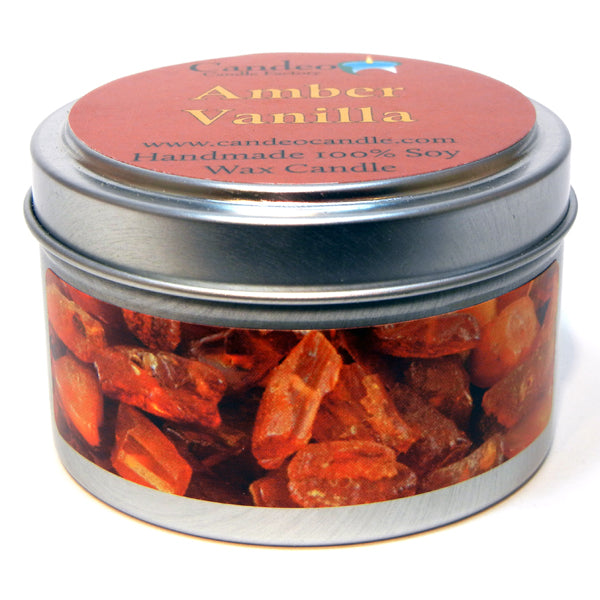 Amber Vanilla, 4oz Soy Candle Tin - Candeo Candle - 1