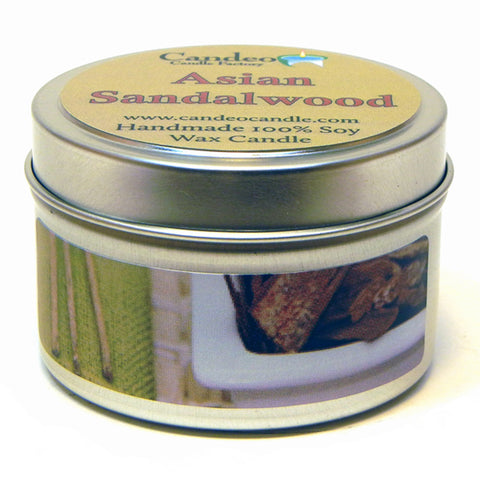 Asian Sandalwood, 4oz Soy Candle Tin - Candeo Candle
