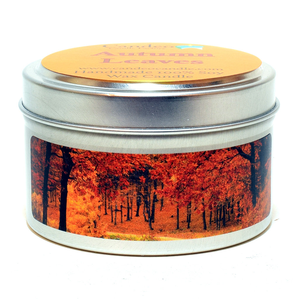Autumn Leaves, 4oz Soy Candle Tin - Candeo Candle