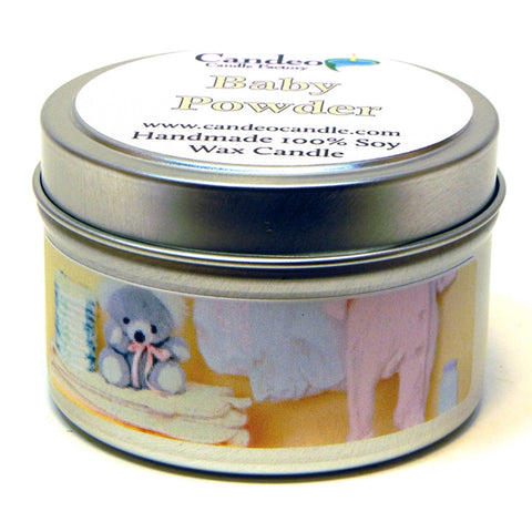 Baby Powder, 4oz Soy Candle Tin - Candeo Candle