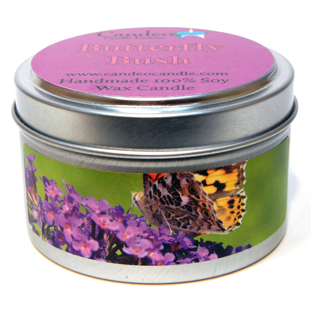 Butterfly Bush, 4oz Soy Candle Tin - Candeo Candle - 1