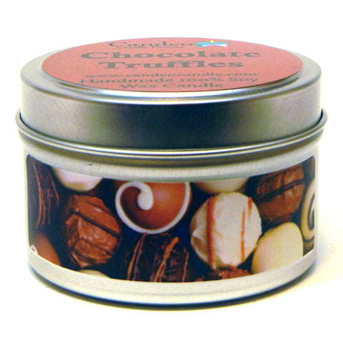 Chocolate Truffles, 4oz Soy Candle Tin - Candeo Candle