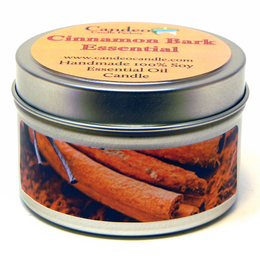 Cinnamon Bark Essential Oil, 4oz Soy Candle Tin - Candeo Candle