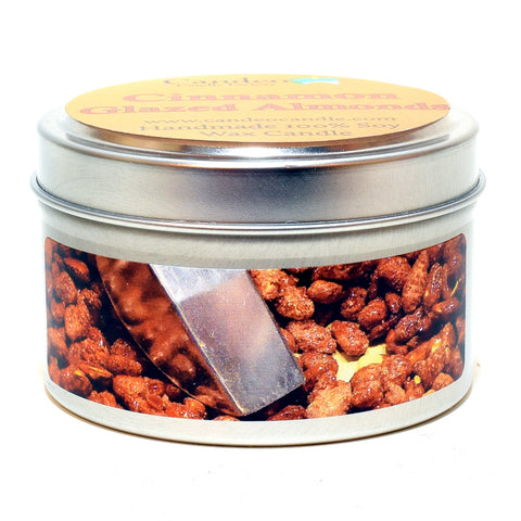 Cinnamon Glazed Almonds, 4oz Soy Candle Tin - Candeo Candle