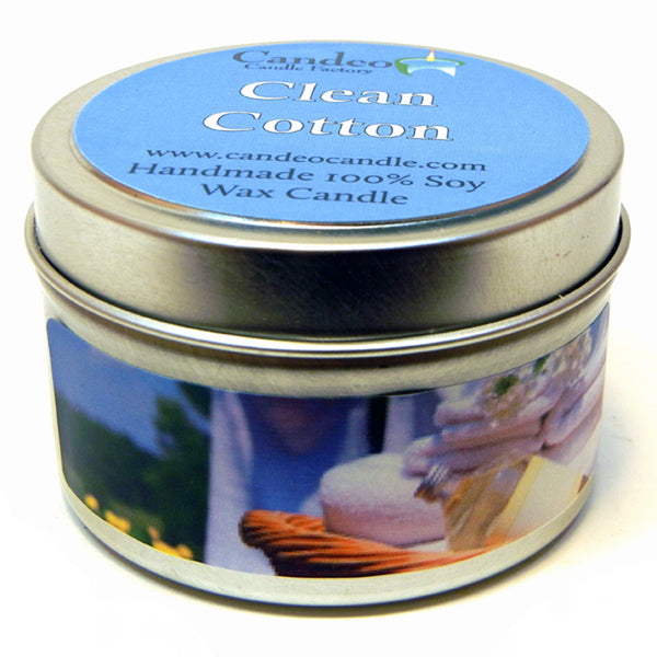 Clean Cotton, 4oz Soy Candle Tin - Candeo Candle - 1