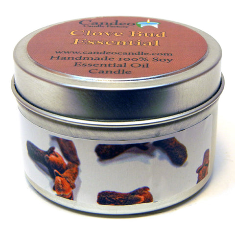 Clove Bud Essential Oil, 4oz Soy Candle Tin - Candeo Candle - 1