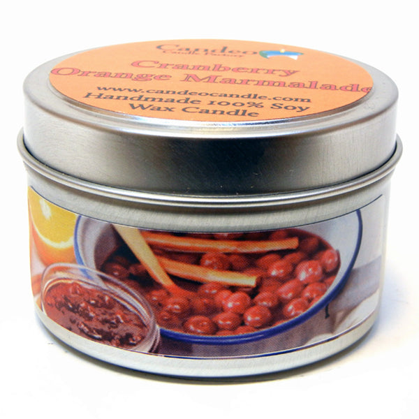 Cranberry Orange Marmalade, 4oz Soy Candle Tin - Candeo Candle - 1