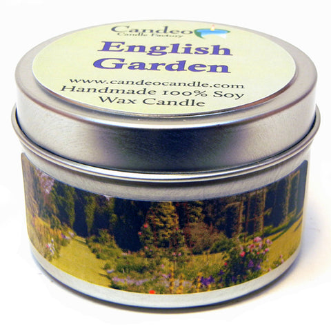 English Garden, 4oz Soy Candle Tin - Candeo Candle - 1