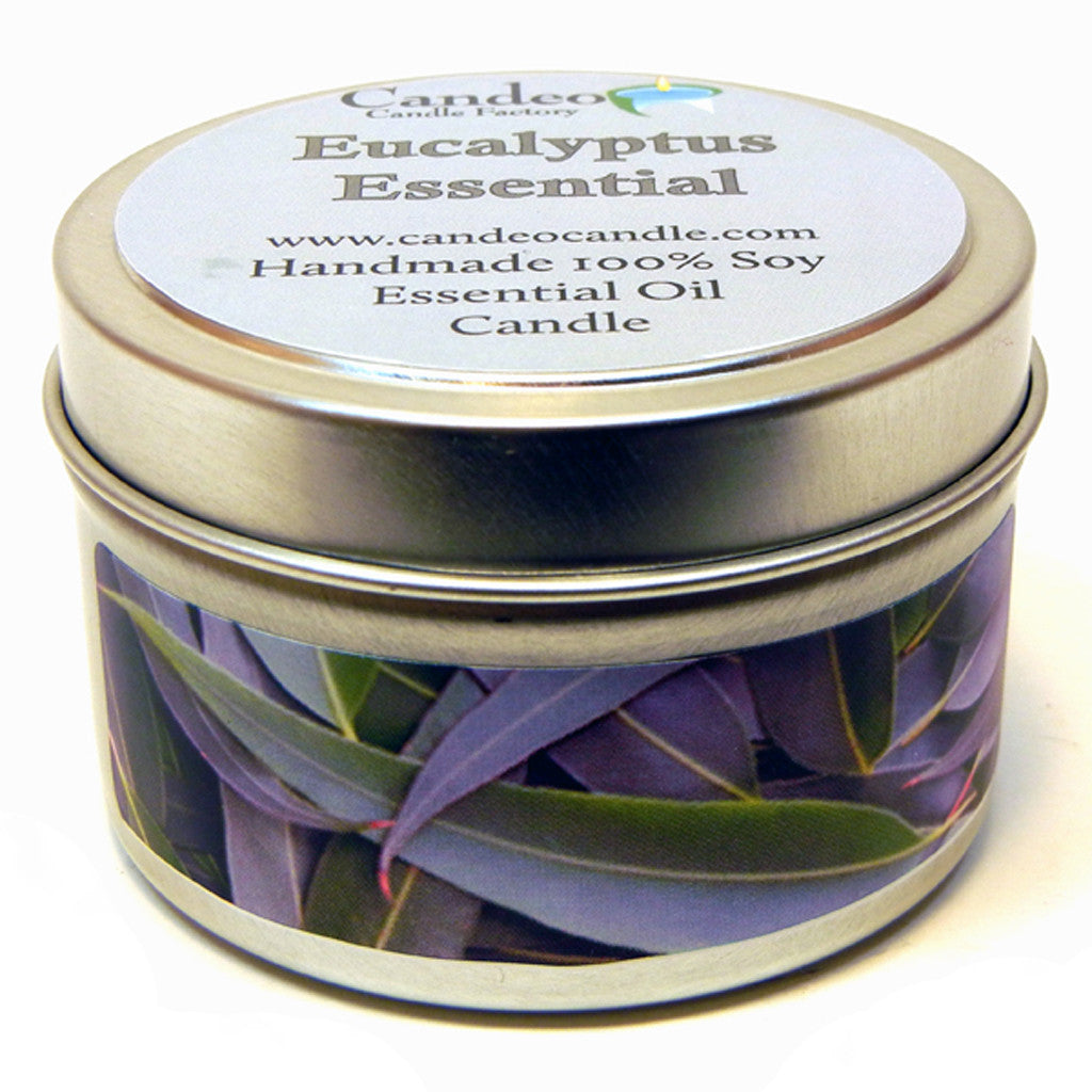 Eucalyptus Essential Oil, 4oz Soy Candle Tin - Candeo Candle - 1