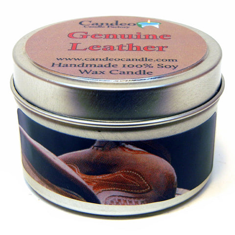 Genuine Leather, 4oz Soy Candle Tin - Candeo Candle - 1